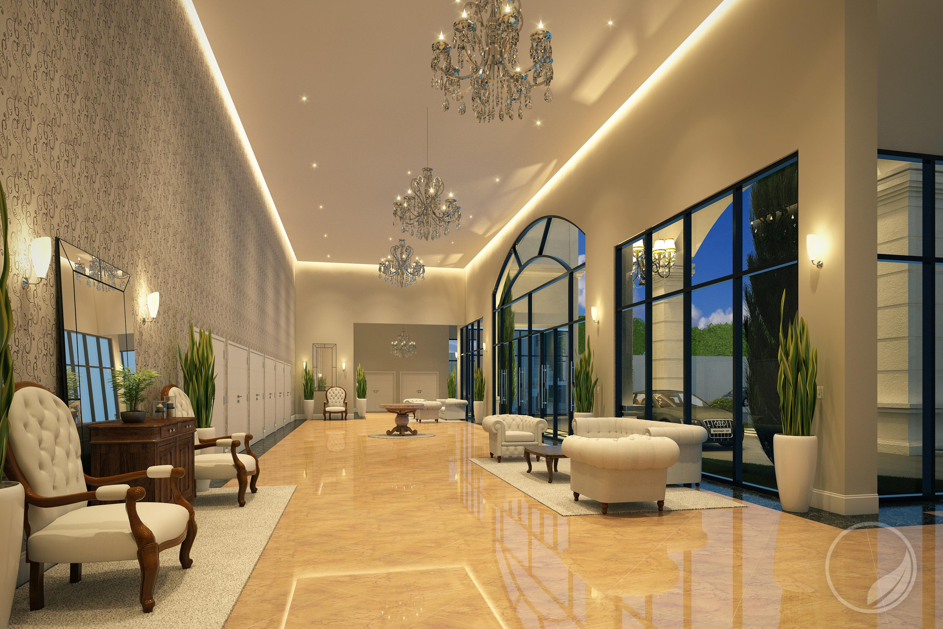 Hall de Entrada   Projeto de um salão de festas com arquitetura moderna. Prime Arquitetura