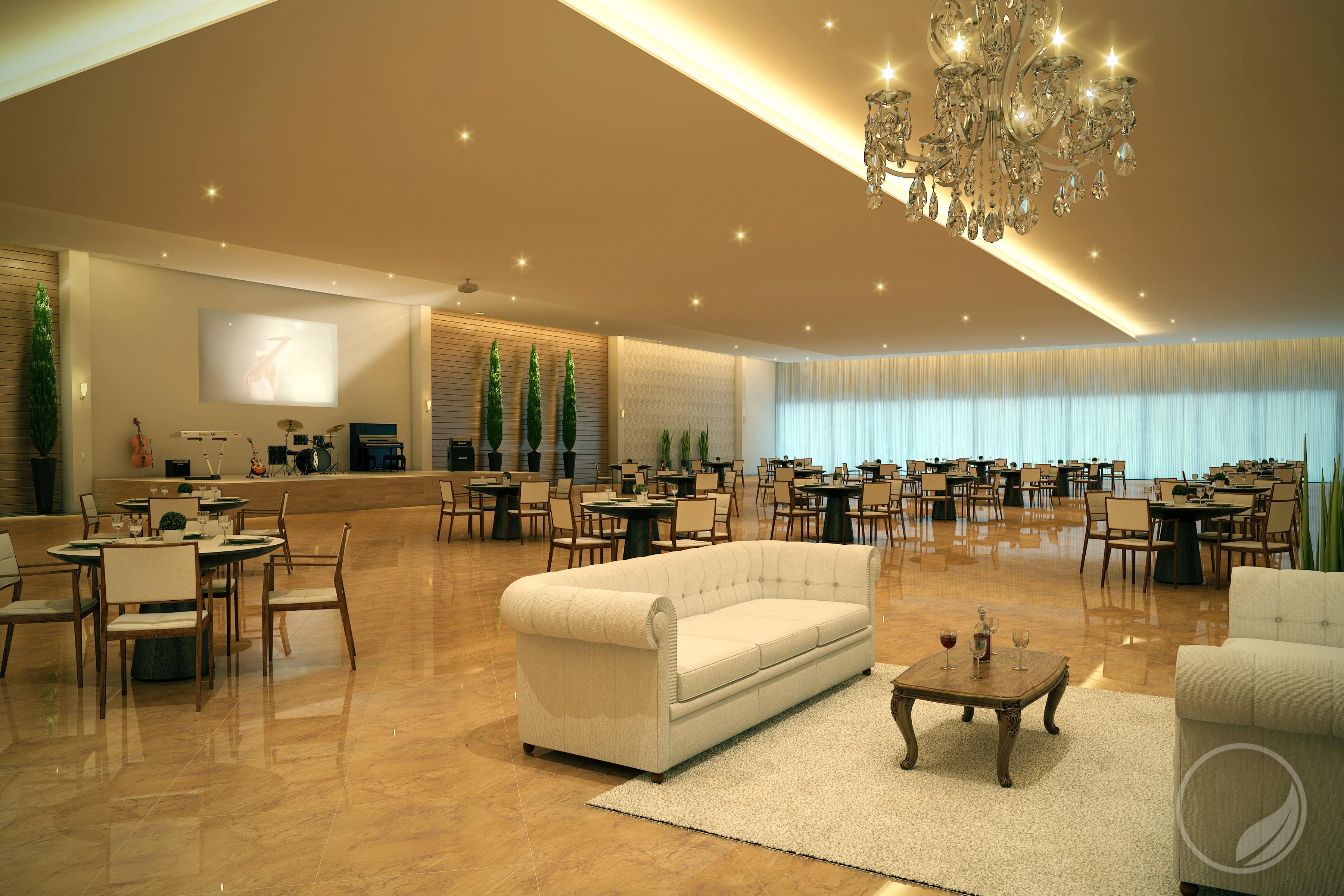 Salão   Projeto de um salão de festas com arquitetura moderna. Prime Arquitetura